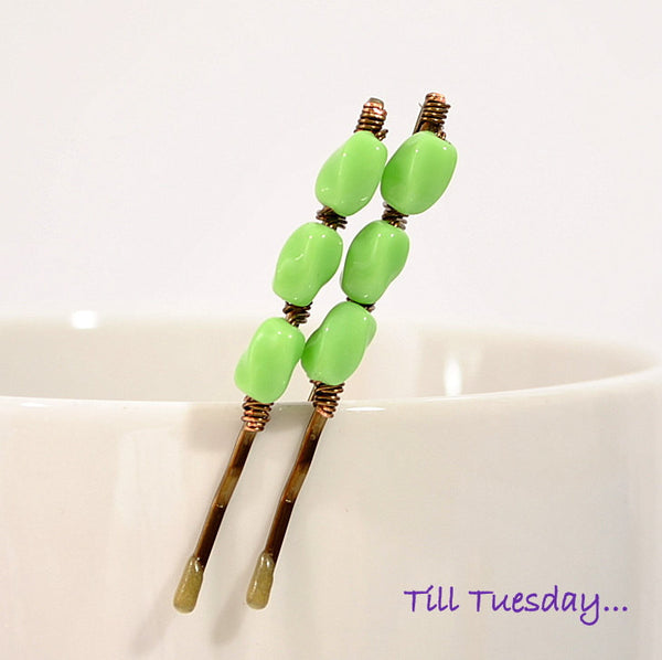 Light Green Bobbies, Pair of Beaded Hair Pins - Purple Moon Designs - 1