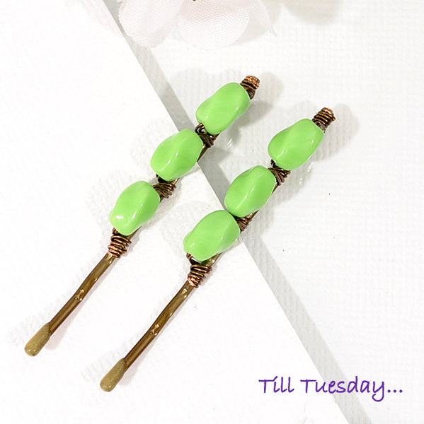 Light Green Bobbies, Pair of Beaded Hair Pins - Purple Moon Designs - 2