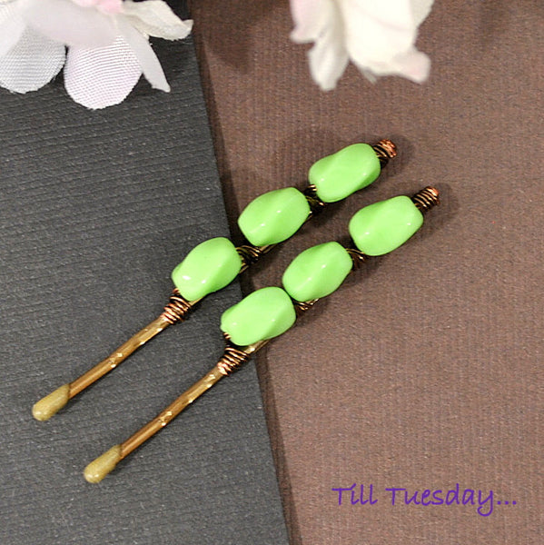 Light Green Bobbies, Pair of Beaded Hair Pins - Purple Moon Designs - 3