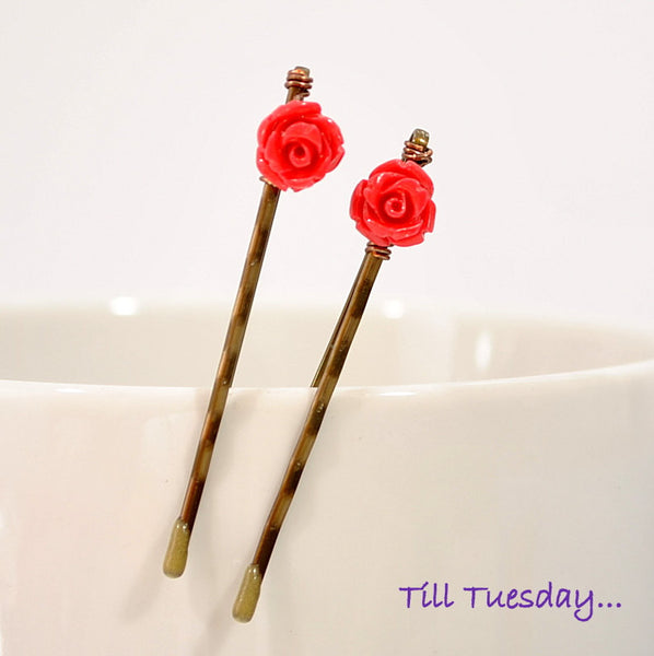 Tiny Rose Bobby Pins, Red Rose Hair Pins - Handmade by Purple Moon Designs