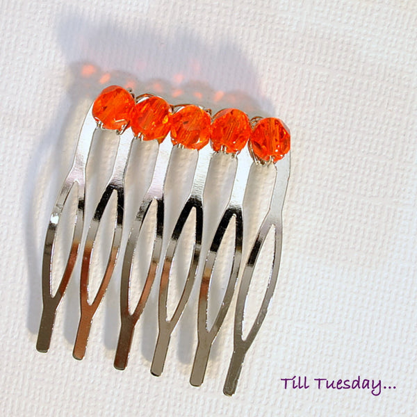 Orange Hair Comb Small Beaded Hair Slide - Handmade by Purple Moon Designs