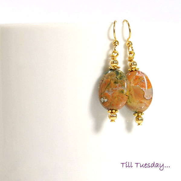 "Brown Green Gemstone Dangle Earrings, 1.5"" - Handmade by Purple Moon Designs"