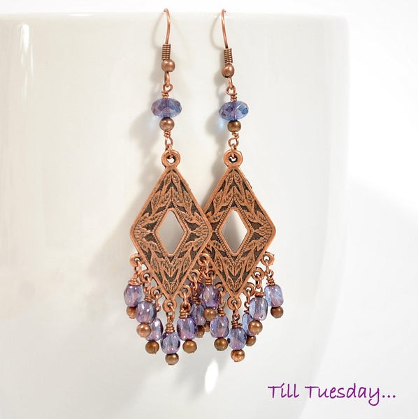 zINVENTORY - Purple Copper Earrings, Beaded Gypsy Earrings, 3 inch - Purple Moon Designs - 1