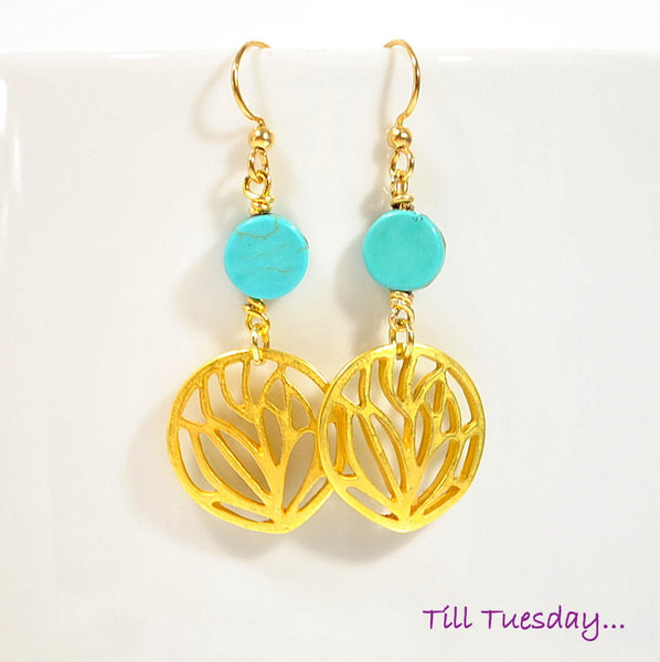 Blue Gold Leaf Earrings, 2 inch - Handmade by Purple Moon Designs