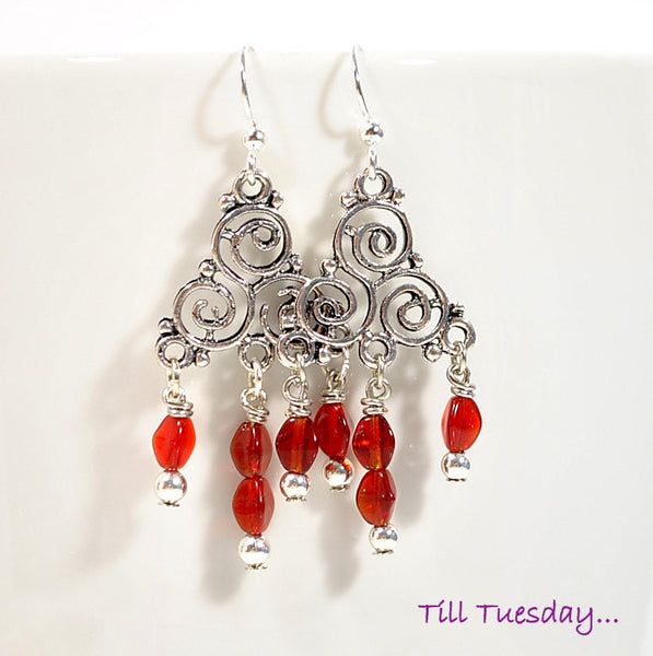 Red Silver Dangle Earrings, Small Celtic Trinity Earrings, 2 inches - Purple Moon Designs - 1