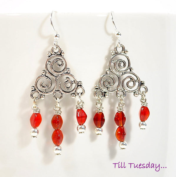 Red Silver Dangle Earrings, Small Celtic Trinity Earrings, 2 inches - Purple Moon Designs - 2