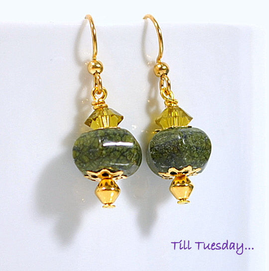 "Dark Green Gold Earrings, 1.25"" - Handmade by Purple Moon Designs"