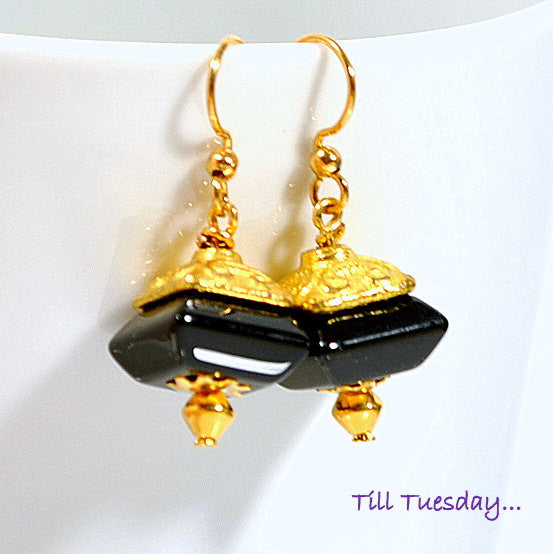 Black Gold Geometric Earrings, 1 inch - Handmade by Purple Moon Designs