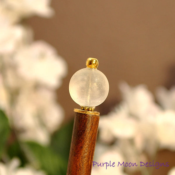 "White Hair Stick Short Hairstick - ""Moonrise"" - Handmade by Purple Moon Designs"