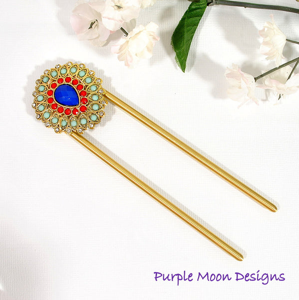 Embellished Blue Red Hair Fork, 4 inch - Purple Moon Designs - 2