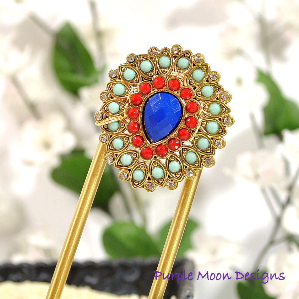 Embellished Blue Red Hair Fork, 4 inch - Purple Moon Designs - 1