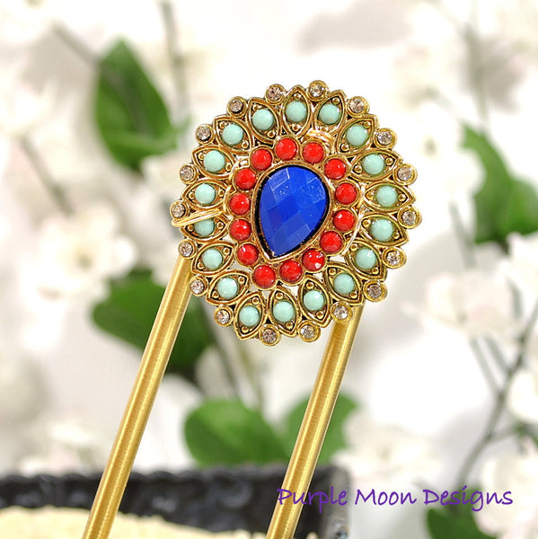 Blue Red Hair Fork, Strong 4 inch Hair Slide - Handmade by Purple Moon Designs