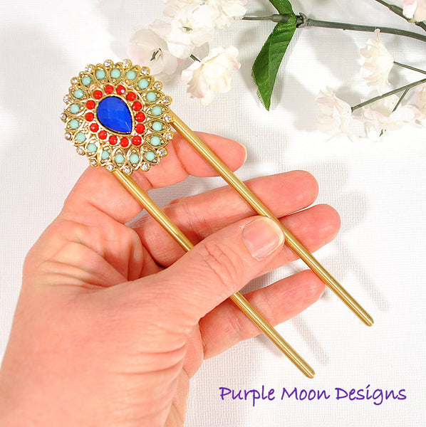 Embellished Blue Red Hair Fork, 4 inch - Purple Moon Designs - 3