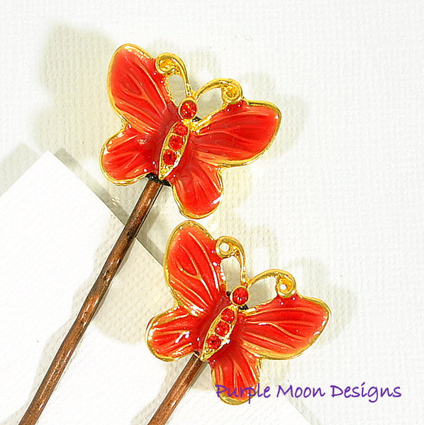 Red Butterfly Bobby Pin, Garden Wedding - Purple Moon Designs - 2