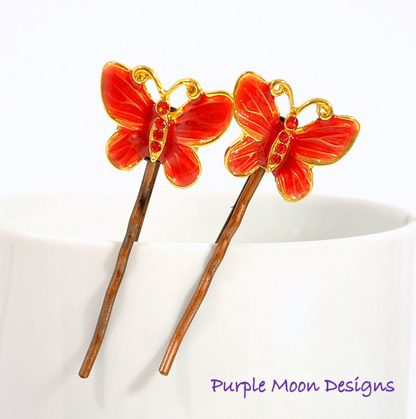 Red Butterfly Bobby Pin, Garden Wedding - Purple Moon Designs - 3