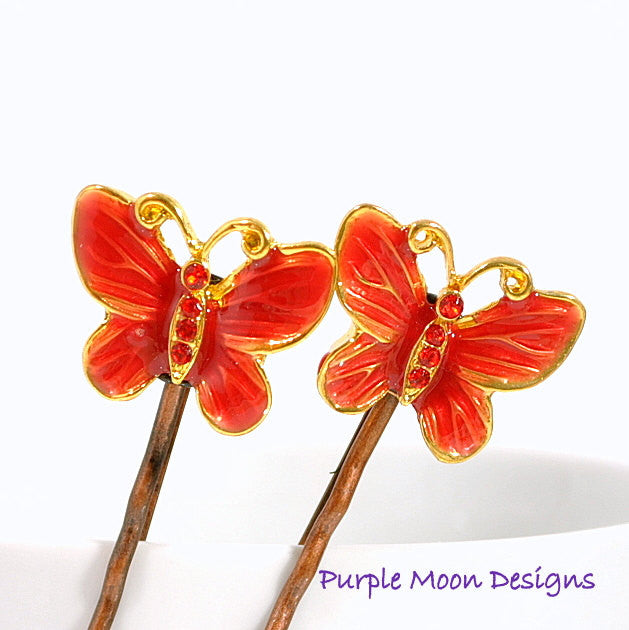 Red Butterfly Bobby Pin, Garden Wedding - Purple Moon Designs - 1