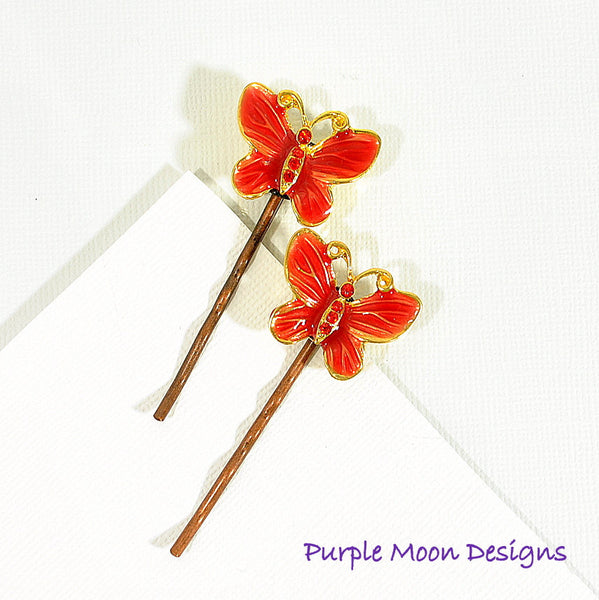 Red Butterfly Bobby Pin, Garden Wedding - Purple Moon Designs - 4
