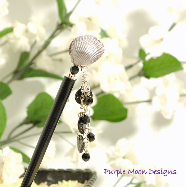 Sea Shell Geisha Hair Stick, Black Beach Hairstick, 5 inch - Purple Moon Designs - 1