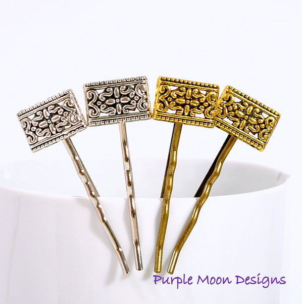 Victorian Bobby Pins, Gold or Silver - Purple Moon Designs - 1