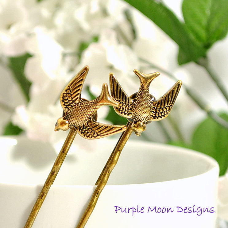 Woodland Bobby Pin Flying Bird Hair Pin - Handmade by Purple Moon Designs