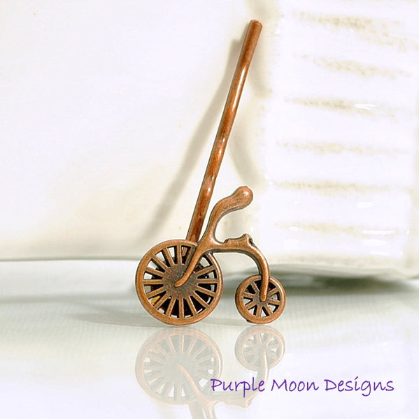 Small Copper Bicycle Bobby Pin - Purple Moon Designs - 2