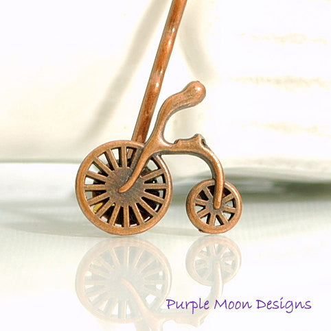 Bicycle Bobby Pin, Small Copper Hair Pin - Handmade by Purple Moon Designs