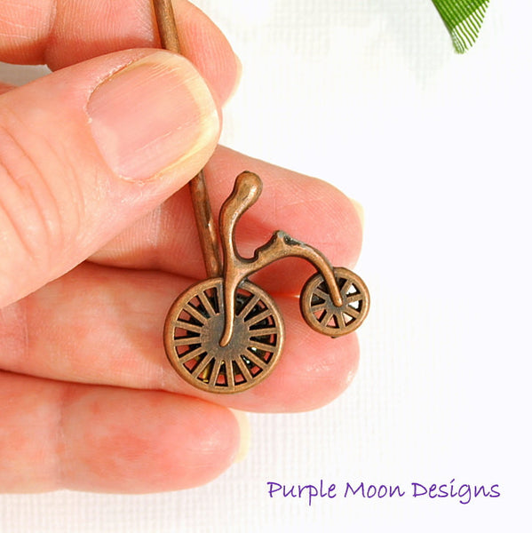 Small Copper Bicycle Bobby Pin - Purple Moon Designs - 3