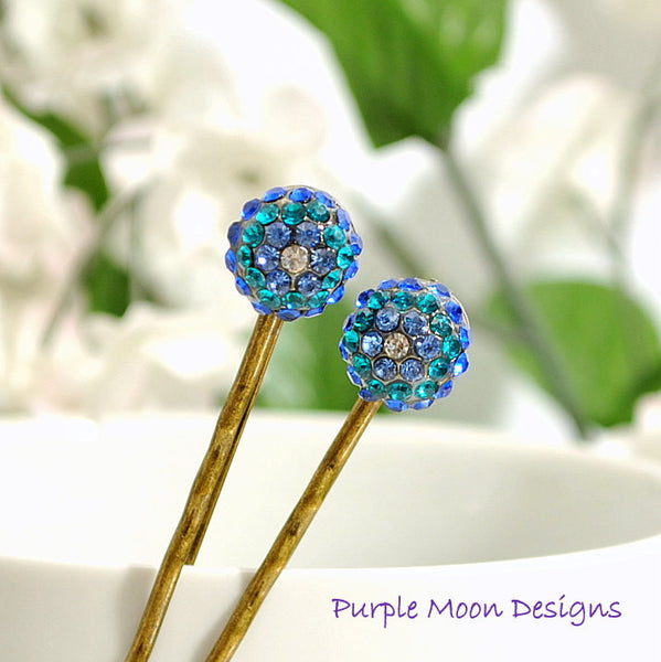 Blue Crystal Bobby Pin Hair Clip - Handmade by Purple Moon Designs