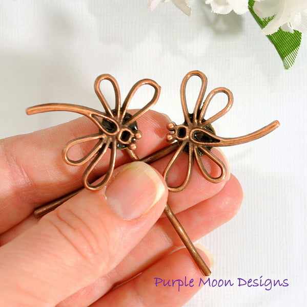 Dragonfly Hair Pin - Copper Dragonfly Bobby Pin - Purple Moon Designs - 3