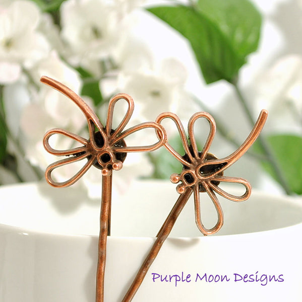 Dragonfly Hair Pin - Copper Dragonfly Bobby Pin - Purple Moon Designs - 2
