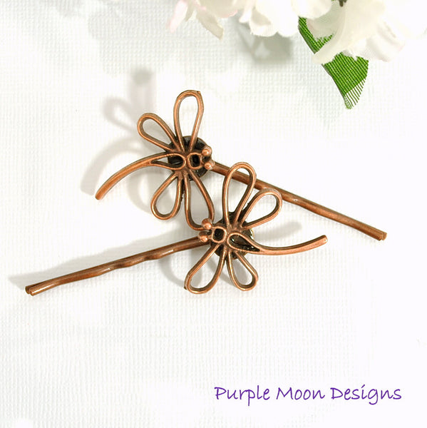 Dragonfly Hair Pin, Copper Dragonfly Bobby Pin - Handmade by Purple Moon Designs