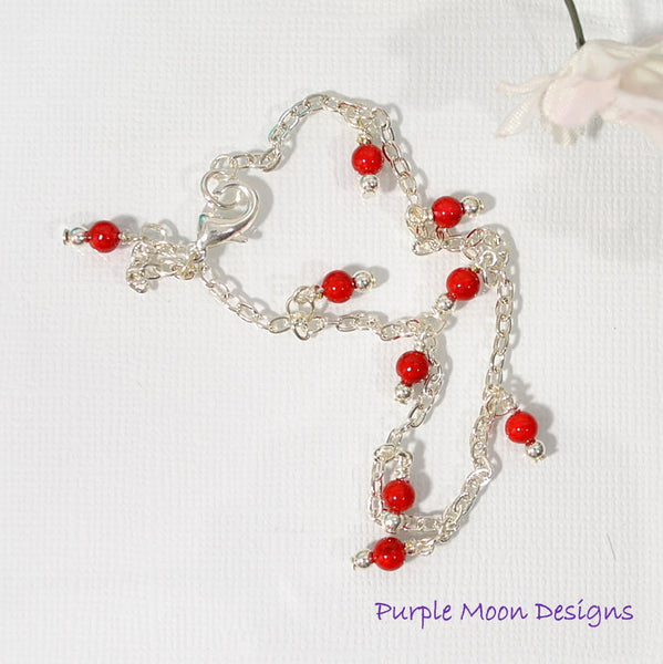 "Silver Chain Anklet with Red Bead Charms, 9.5"" - Purple Moon Designs - 2"