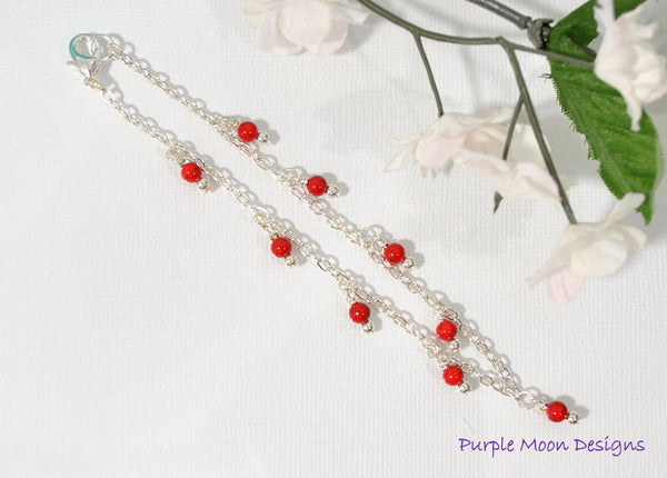 "Silver Chain Anklet with Red Bead Charms, 9.5"" - Purple Moon Designs - 3"
