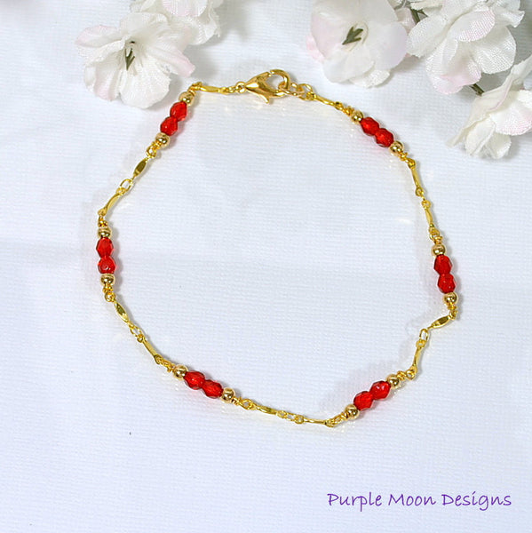 "Red on Gold Chain Anklet, Gold Chain with Bright Red Beaded Accents, 9.5"" - Purple Moon Designs - 3"