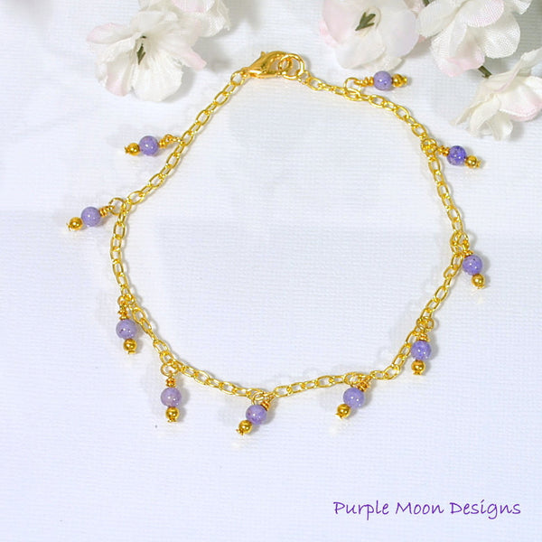 "Lavender Stone Beads on Gold Chain Anklet, 9.5"" - Purple Moon Designs - 2"