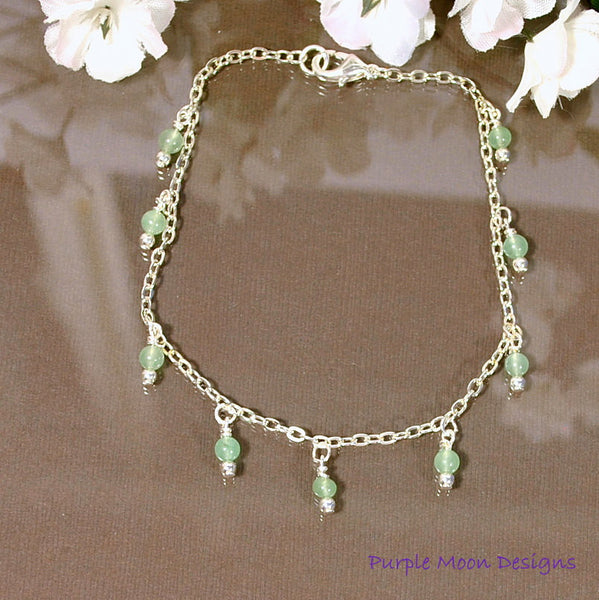 "Light Green Stone on Silver Chain Anklet, 9.5"" Ankle Bracelet - Purple Moon Designs - 2"