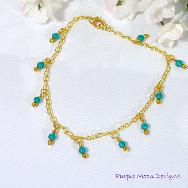 "Blue Charm Anklet on Gold Chain, 9.5"" Anklet - Purple Moon Designs - 3"