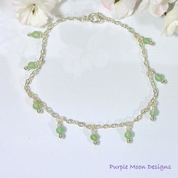 "Light Green Stone on Silver Chain Anklet, 9.5"" Ankle Bracelet - Purple Moon Designs - 3"