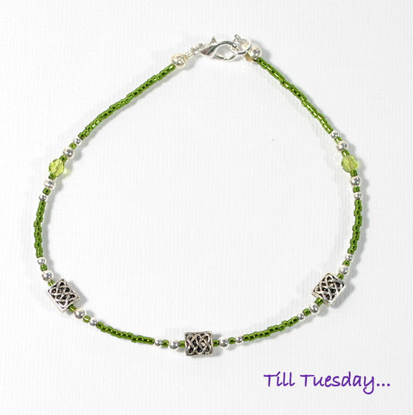 Celtic Knot Anklet Army Green Ankle Bracelet - Handmade by Purple Moon Designs