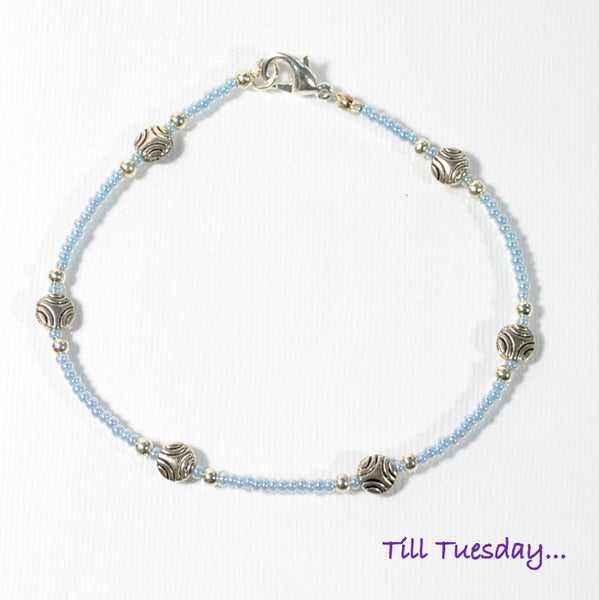 Strong Blue Silver Anklet, 9.5 inch - Purple Moon Designs - 3