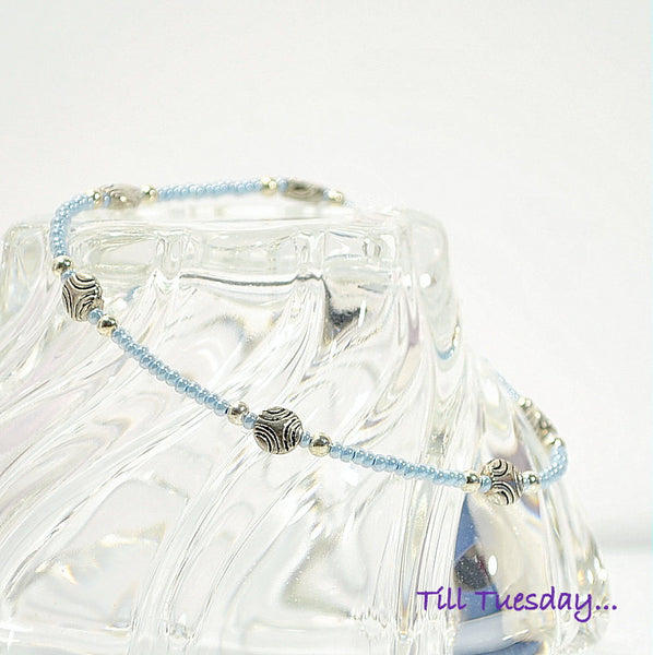 Strong Blue Silver Anklet, 9.5 inch - Purple Moon Designs - 2