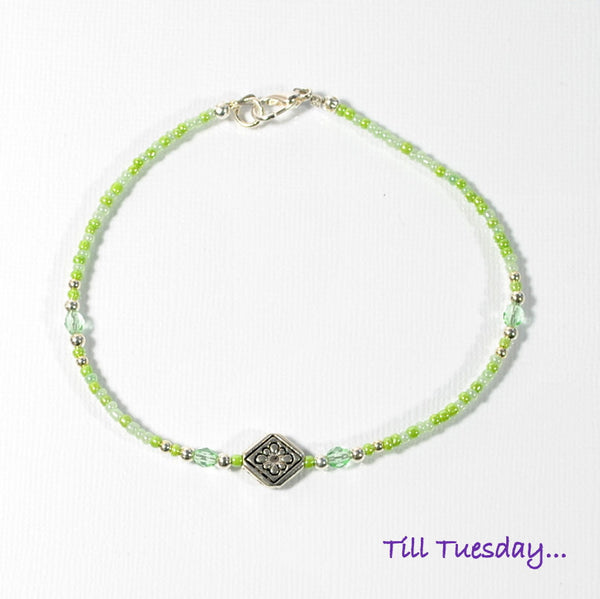 Light Green Mix Bead Anklet with Silver Celtic Accents, 9 1/2 inch - Purple Moon Designs - 3