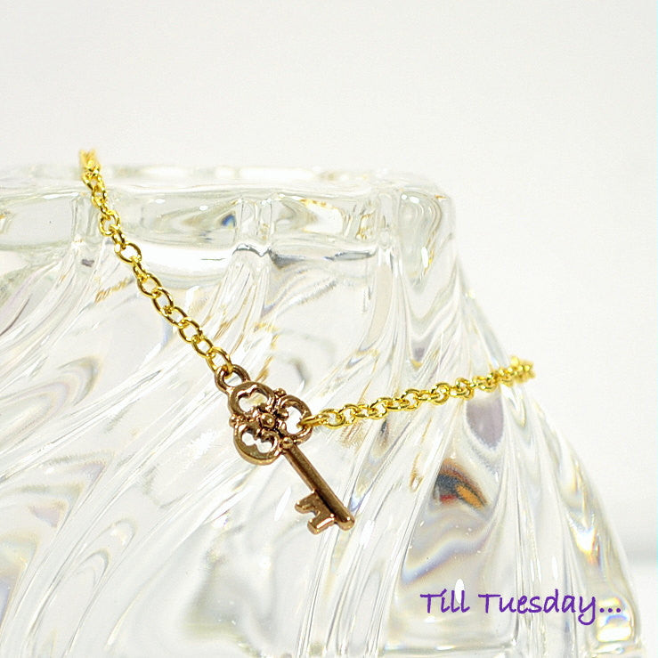 Key Ankle Bracelet, Gold Chain with Small Key Charm Anklet, 9.25 inch - Handmade by Purple Moon Designs
