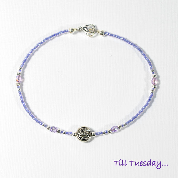 Lavender Celtic Anklet, 9.75 inch Beaded Ankle Bracelet with Silver Accents, Unbreakable - Purple Moon Designs - 3