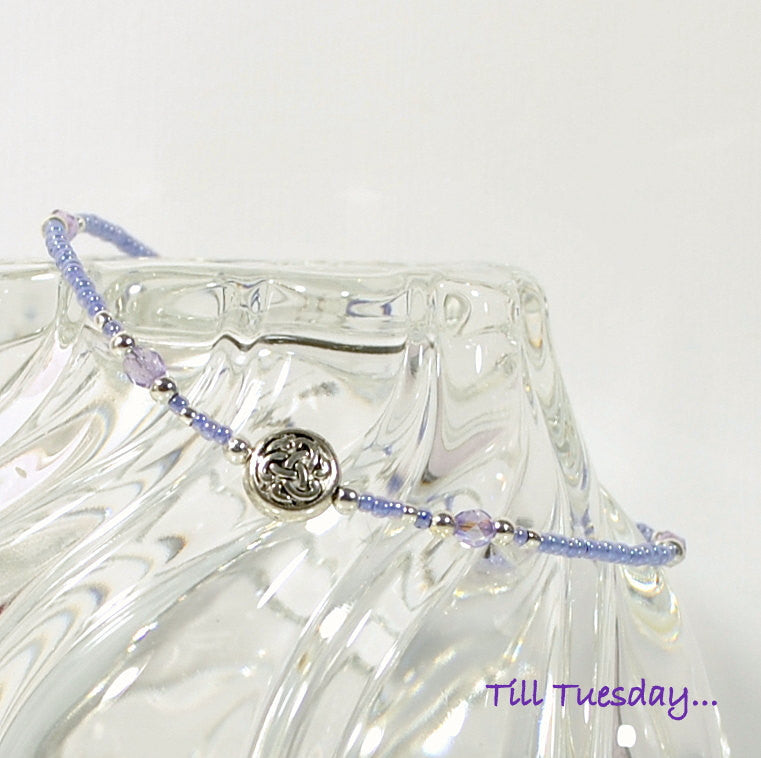 Lavender Celtic Anklet, 9.75 inch Beaded Ankle Bracelet with Silver Accents, Unbreakable - Purple Moon Designs - 1
