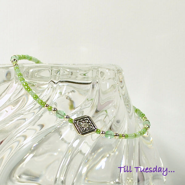 Light Green Mix Bead Anklet with Silver Celtic Accents, 9 1/2 inch - Purple Moon Designs - 2