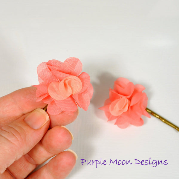 Apricot Pink Flower Bobby Pin - Purple Moon Designs - 3