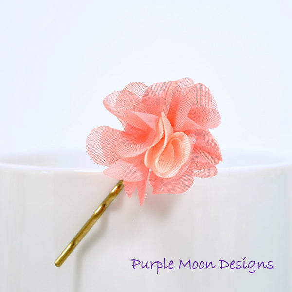 Apricot Pink Flower Bobby Pin Hair Pin - Handmade by Purple Moon Designs