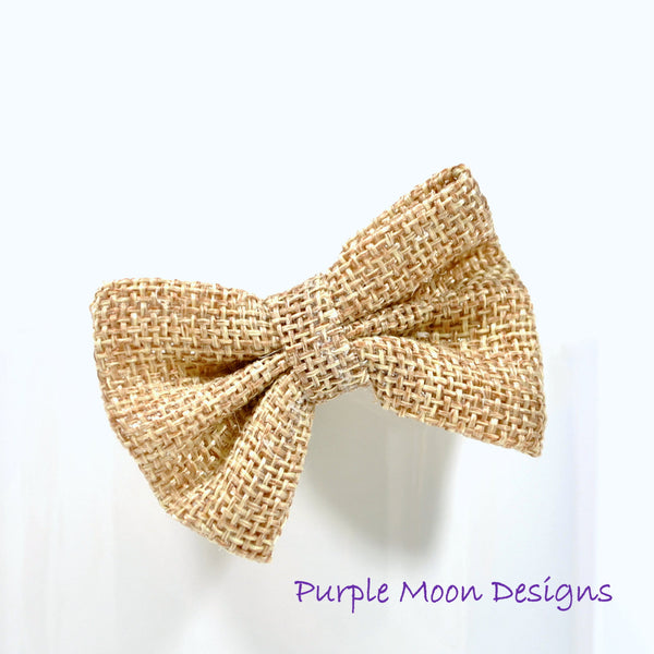 Brown Burlap Hair Bow - Purple Moon Designs - 1