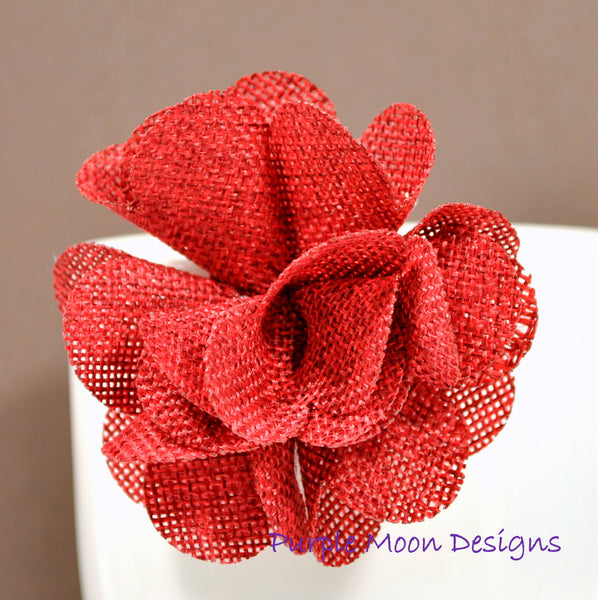 Burlap Flower Clip, Red or Spring Green - Purple Moon Designs - 4